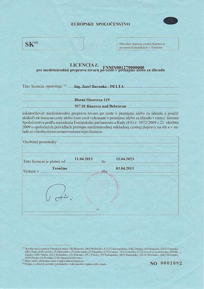 Licencia pre medzinárodnú prepravu